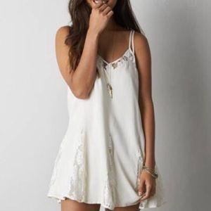 American Eagle cream lace slip dress